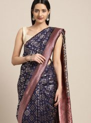 Classic Saree Weaving Art Silk in Navy Blue