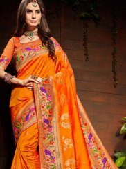 Classic Saree Weaving Art Silk in Orange