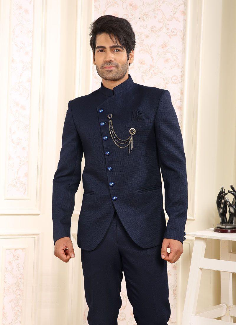 Coats & Blazers Plain Viscose in Navy Blue