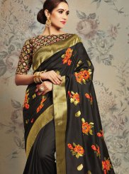 Cord Jacquard Silk Black Classic Saree