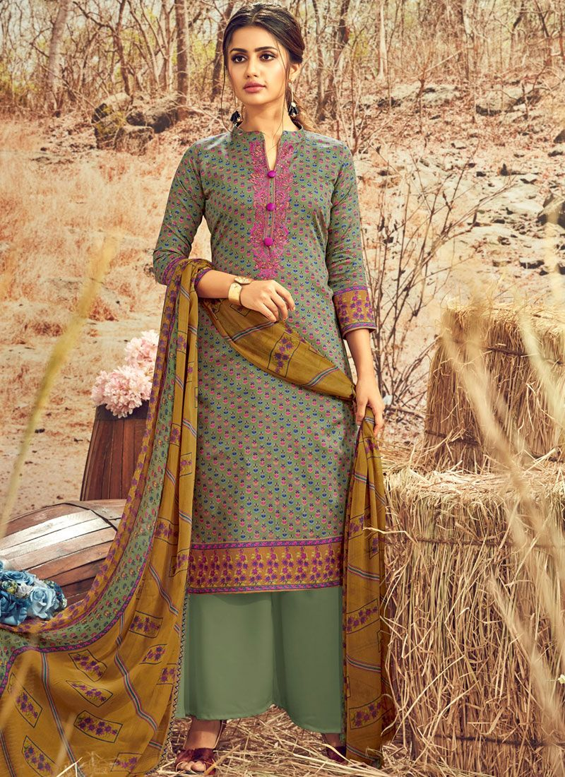 Cotton Abstract Print Designer Palazzo Suit