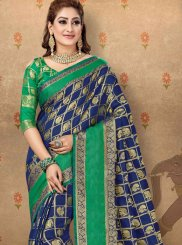 Cotton Abstract Print Navy Blue Designer Saree