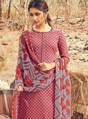 Cotton Abstract Print Pink Designer Palazzo Suit