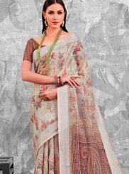 Cotton Abstract Print Printed Saree