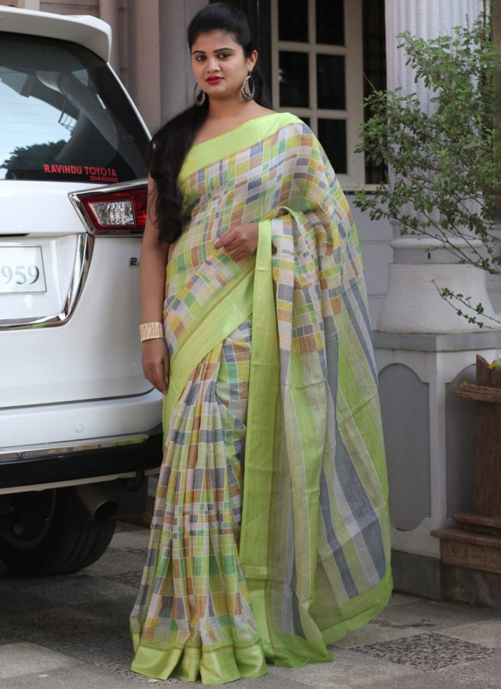 Cotton Abstract Print Printed Saree in Multi Colour