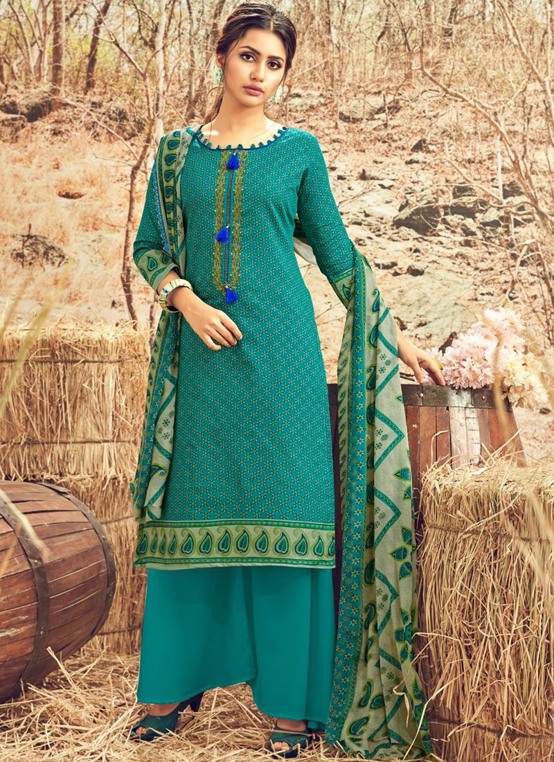 Cotton Abstract Print Teal Designer Palazzo Suit