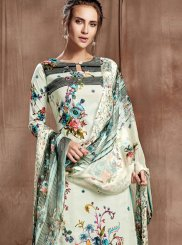 Cotton Aqua Blue and Off White Designer Palazzo Salwar Kameez