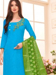 Cotton Aqua Blue Salwar Kameez