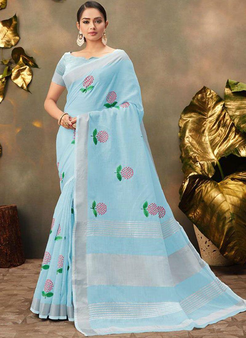 Cotton Aqua Blue Trendy Saree