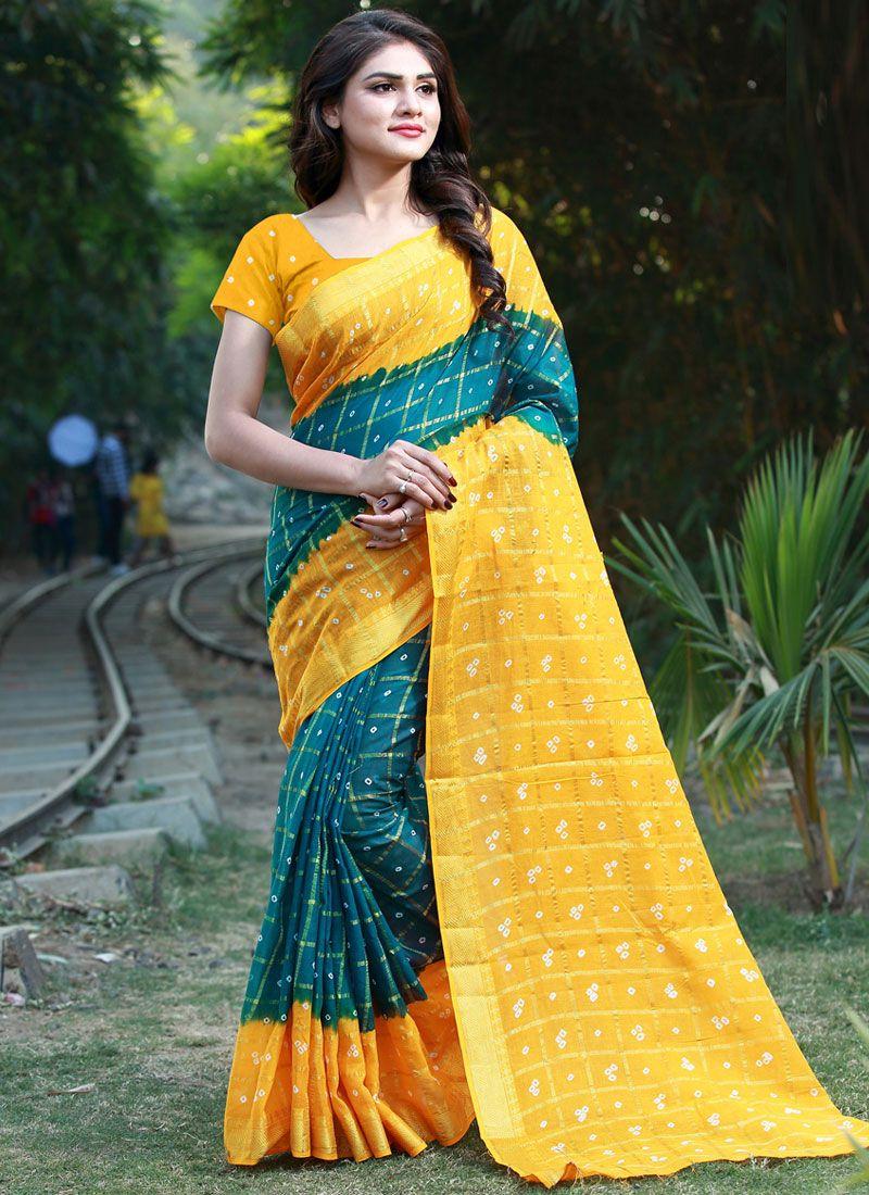 Cotton Bandhej Multi Colour Casual Saree