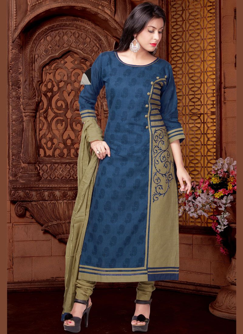 Cotton   Beige and Blue Print Readymade Suit