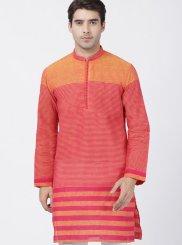 Cotton Beige and Pink Printed Kurta Pyjama