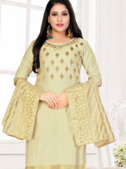 Cotton Beige Churidar Designer Suit