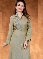 Cotton Beige Embroidered Casual Kurti