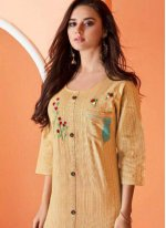 Cotton Beige Embroidered Party Wear Kurti