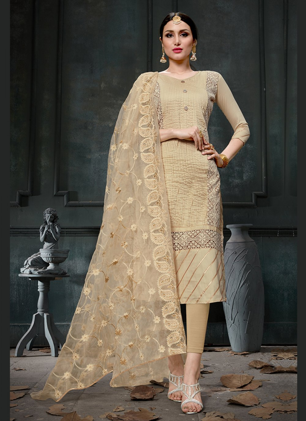 Cotton Beige Fancy Designer Straight Suit