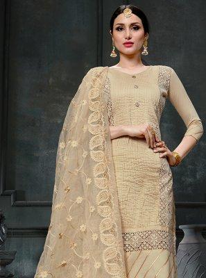Cotton Beige Fancy Designer Straight Suit