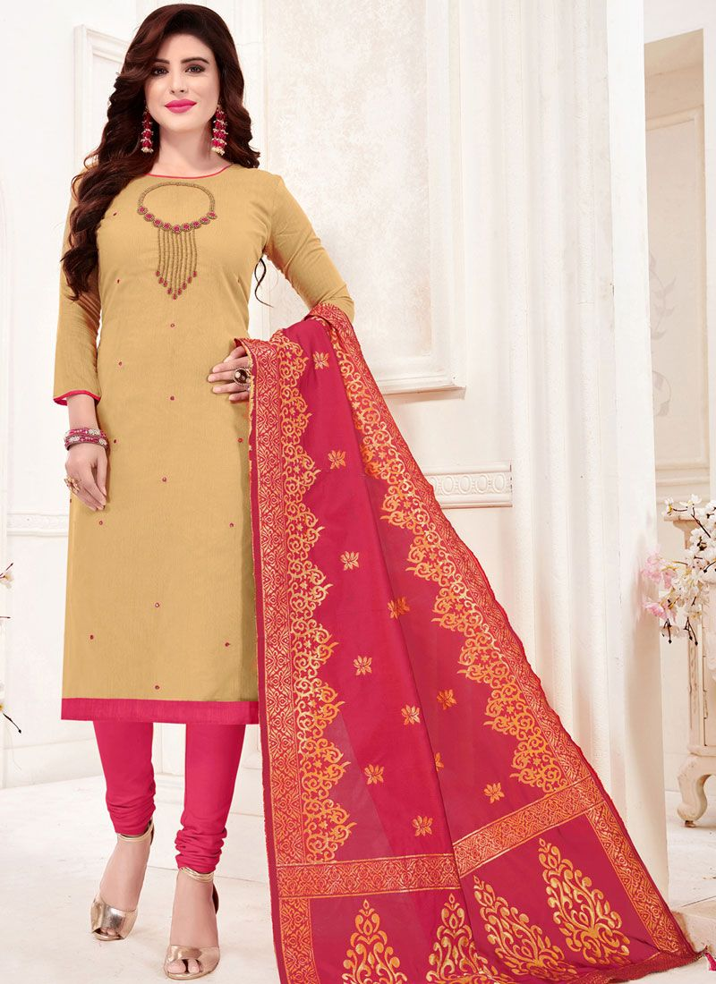 Cotton Beige Trendy Churidar Salwar Kameez