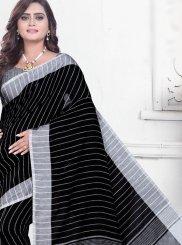 Cotton Black Abstract Print Printed Saree