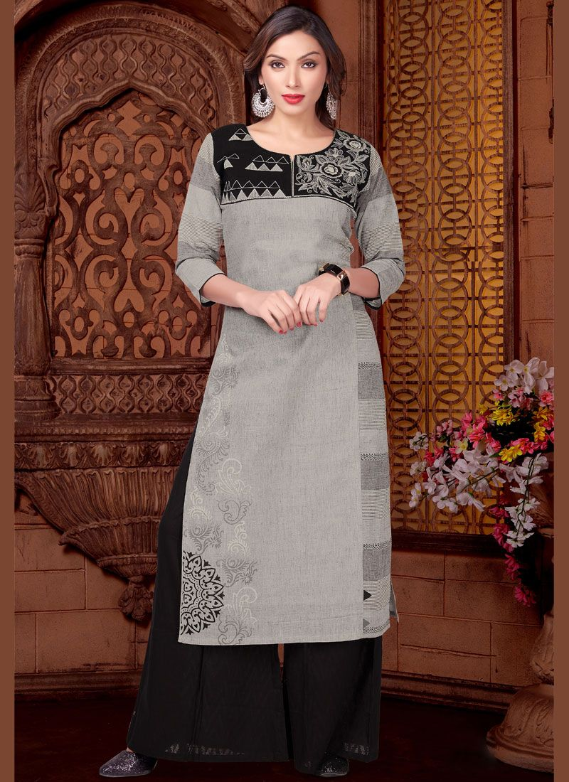 Cotton   Black and Grey Readymade Suit