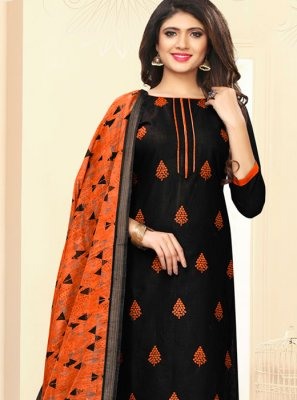 Cotton Black and Orange Embroidered Churidar Salwar Suit