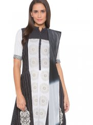 Cotton Black and White Embroidered Readymade Suit