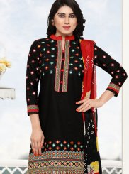 Cotton Black Embroidered Punjabi Suit