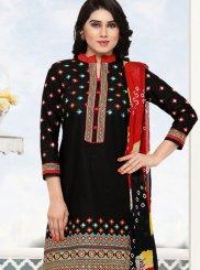 Cotton Black Embroidered Punjabi Suit