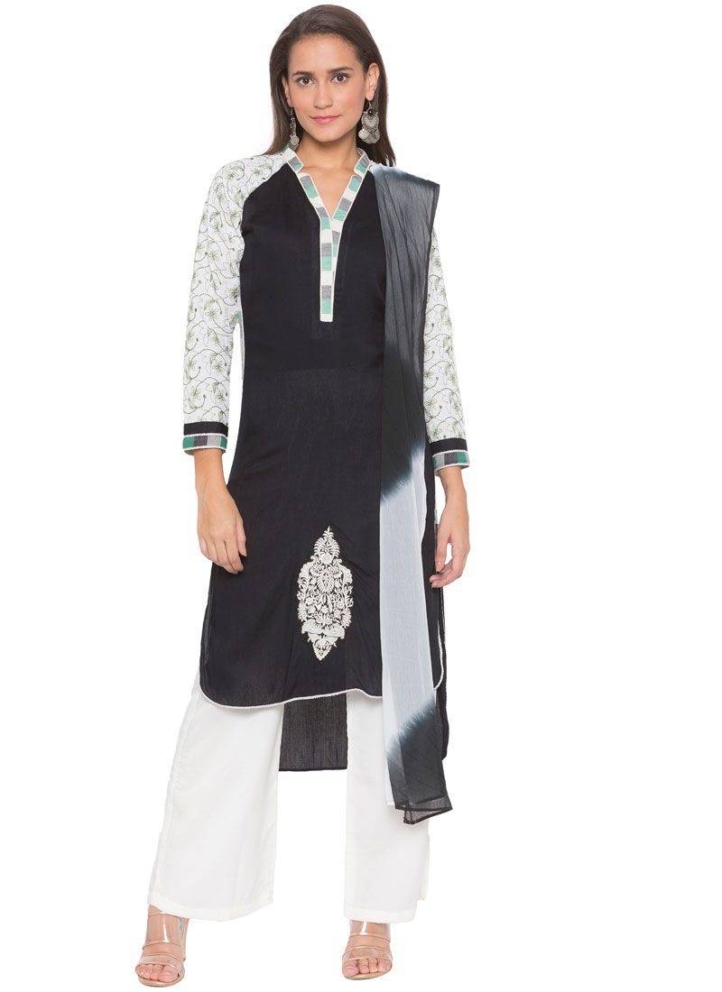 Cotton Black Embroidered Readymade Suit