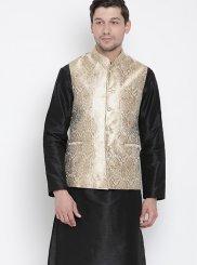 Cotton Black Kurta Payjama With Jacket