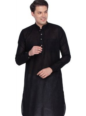 Cotton Black Plain Kurta Pyjama