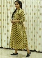 Cotton Block Print Trendy Gown in Yellow