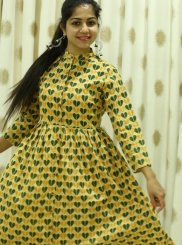 Cotton Block Print Trendy Gown in Yellow