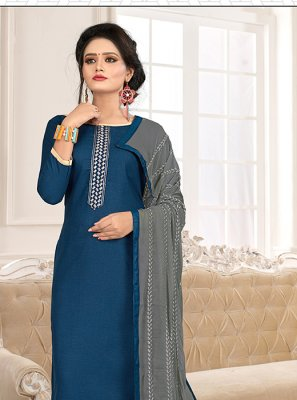 Cotton Blue and Grey Trendy Churidar Salwar Suit