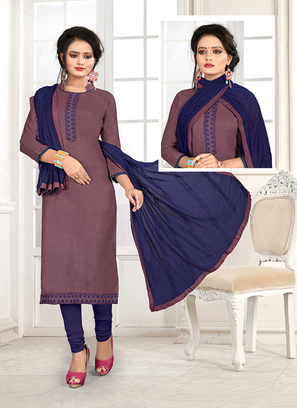 Cotton Blue and Mauve  Embroidered Churidar Salwar Kameez