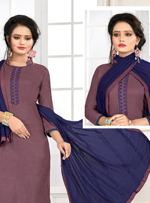 Cotton Blue and Mauve  Embroidered Churidar Salwar Kameez