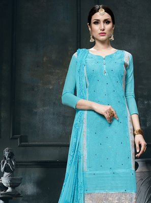 Cotton Blue Designer Straight Suit