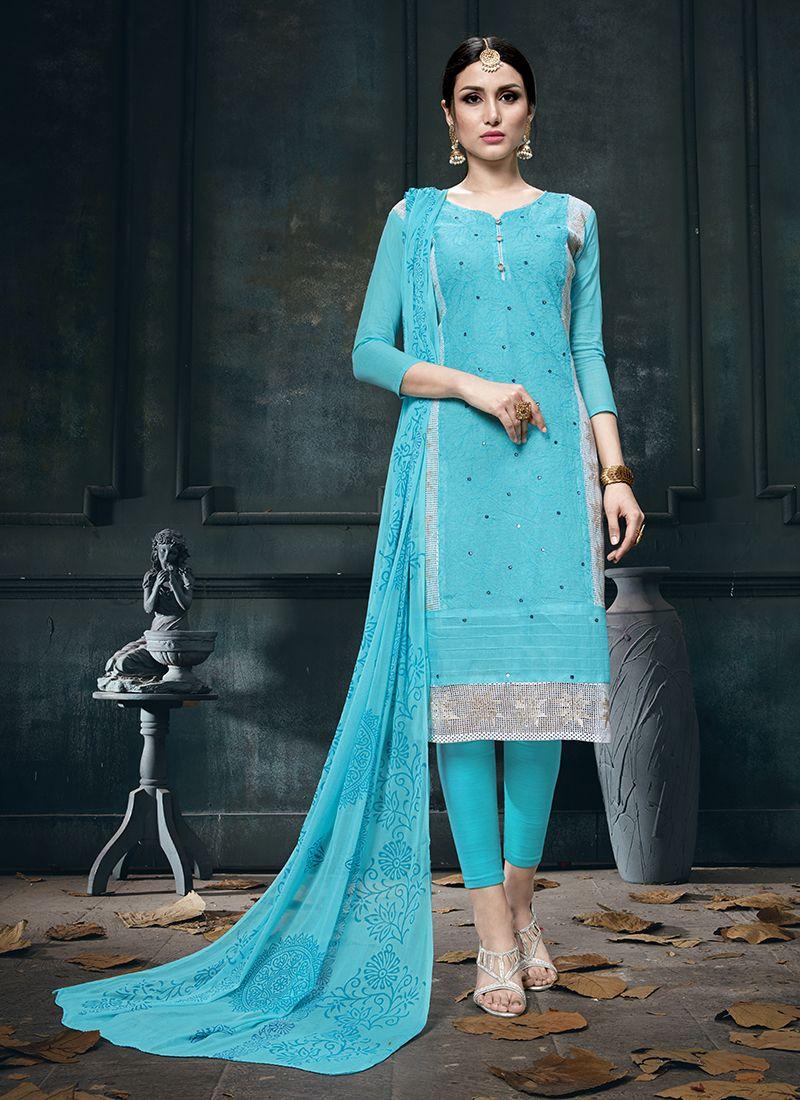 Cotton Blue Designer Straight Suit