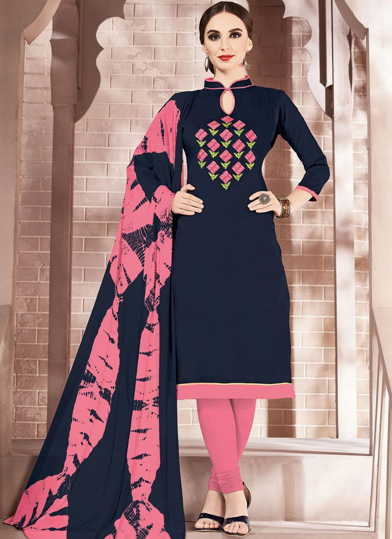 Cotton Blue Embroidered Churidar Suit