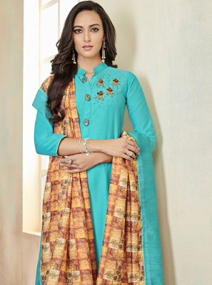 Cotton Blue Fancy Readymade Suit