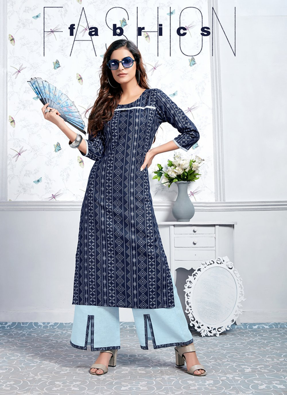 Cotton Blue Party Wear Kurti