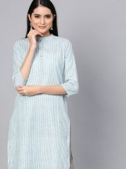 Cotton Blue Plain Casual Kurti