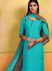 Cotton Blue Print Churidar Suit
