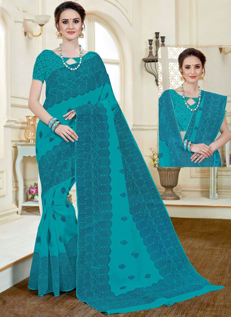 Cotton   Blue Print Work Casual Saree