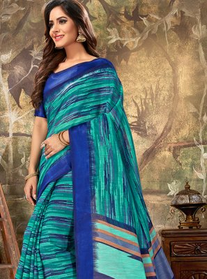 Cotton Blue Printed Classic Designer Saree