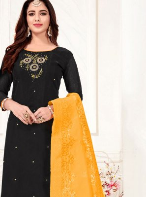 Cotton Border Churidar Designer Suit in Black