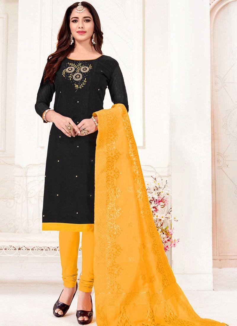 Cotton Border Churidar Designer Suit in Black