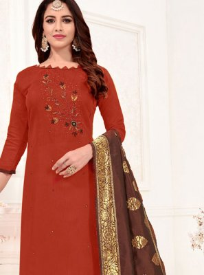 Cotton Border Churidar Salwar Kameez in Brown
