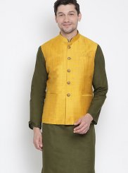 Cotton Brown Kurta Payjama With Jacket