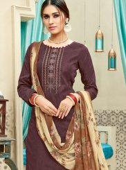 Cotton Brown Print Punjabi Suit